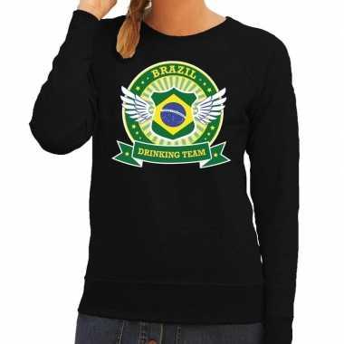 Zwart brazil drinking team sweater dames