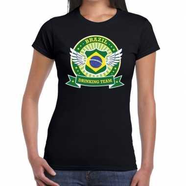 Zwart brazil drinking team t shirt dames