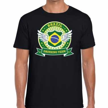 Zwart brazil drinking team t shirt heren
