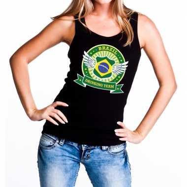 Zwart brazil drinking team tanktop / mouwloos shirt dames