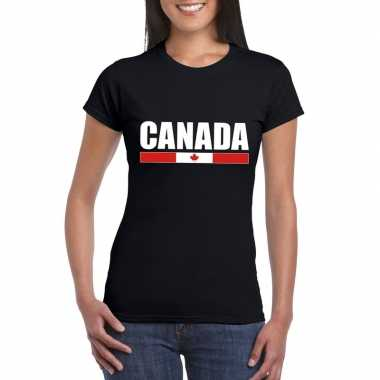 Zwart canada supporter t shirt dames