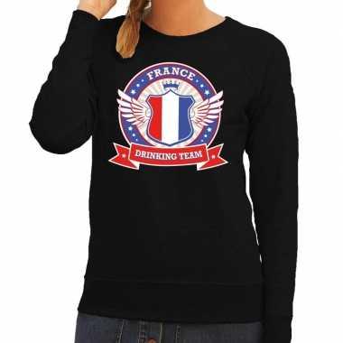 Zwart france drinking team sweater dames