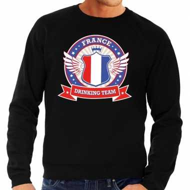 Zwart france drinking team sweater heren