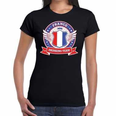 Zwart france drinking team t shirt dames