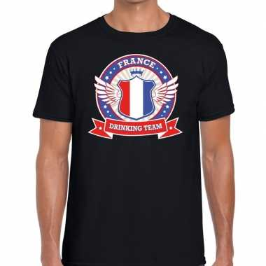 Zwart france drinking team t shirt heren