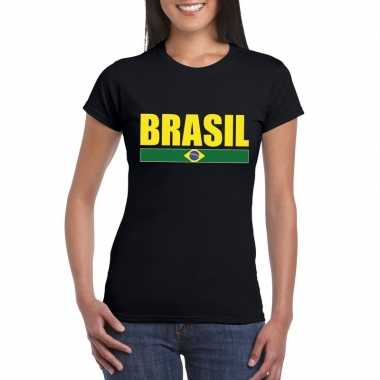 Zwart/ geel brazilie supporter t shirt dames