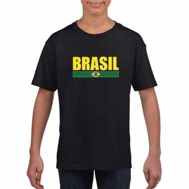 Zwart / geel brazilie supporter t shirt kinderen