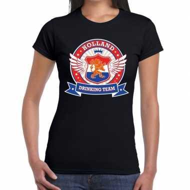 Zwart holland drinking team t-shirt dames 10140423