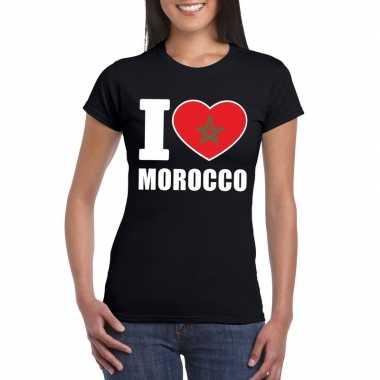 Zwart i love marokko fan shirt dames
