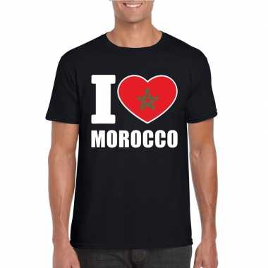 Zwart i love marokko fan shirt heren