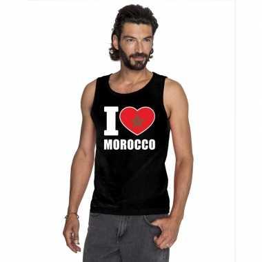 Zwart i love marokko fan singlet shirt/ tanktop heren