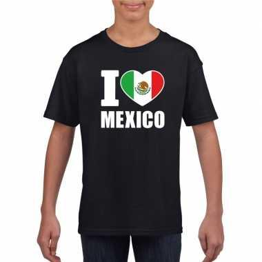 Zwart i love mexico fan shirt kinderen