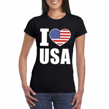 Zwart i love usa amerika fan shirt dames