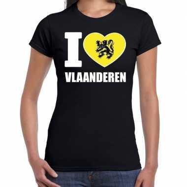 Zwart i love vlaanderen t shirt dames