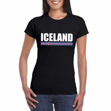 Zwart ijsland supporter t shirt dames