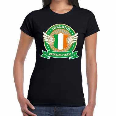 Zwart ireland drinking team t shirt dames