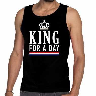 Zwart king for a day tanktop / mouwloos shirt heren