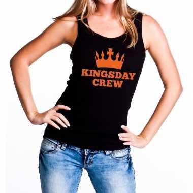 Zwart kingsday crew tanktop / mouwloos shirt dames