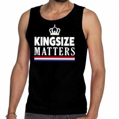 Zwart koningsdag kingsize matters tanktop heren