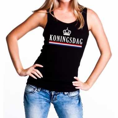 Zwart koningsdag kroon vlag tanktop / mouwloos shirt dames