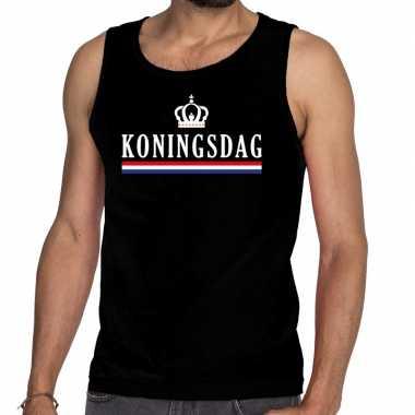 Zwart koningsdag vlag kroon tanktop / mouwloos shirt voor