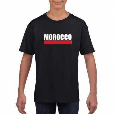 Zwart marokko supporter t shirt kinderen