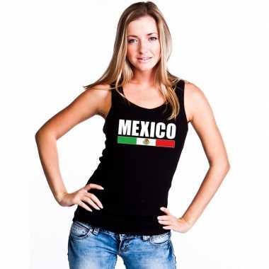 Zwart mexico supporter singlet shirt/ tanktop dames