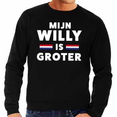 Zwart mijn willy is groter sweater heren