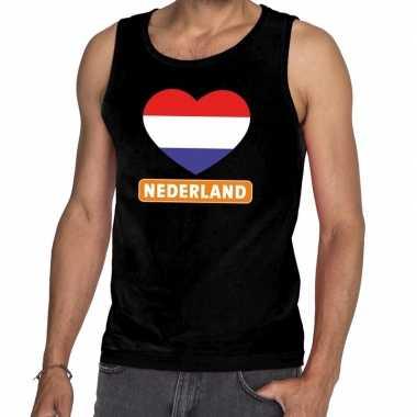 Zwart nederland hart mouwloos shirt heren
