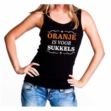 Zwart oranje is sukkels mouwloos shirt dames
