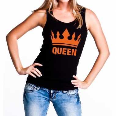 Zwart queen oranje kroon tanktop / mouwloos shirt dames