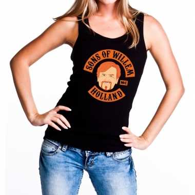 Zwart sons of willem tanktop / mouwloos shirt dames