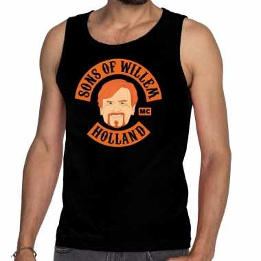 Zwart sons of willem tanktop / mouwloos shirt heren