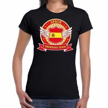 Zwart spain drinking team t shirt dames