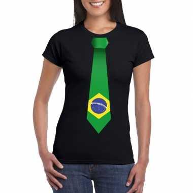Zwart t shirt brazilie vlag stropdas dames