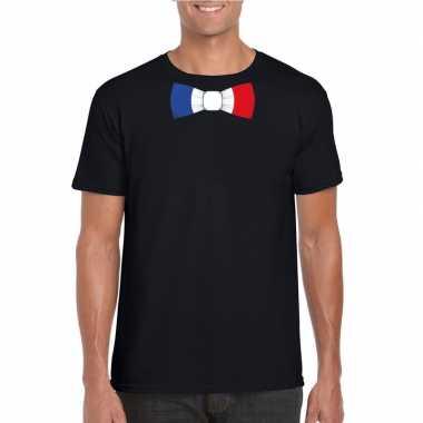 Zwart t shirt frankrijk vlag strikje heren