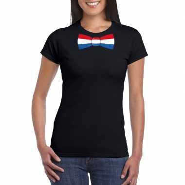 Zwart t shirt nederland vlag strikje dames