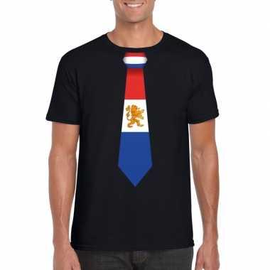 Zwart t shirt nederland vlag stropdas heren