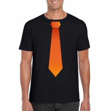Zwart t shirt oranje stropdas heren