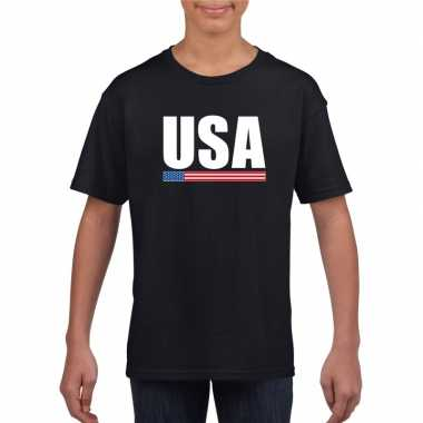 Zwart usa / amerika supporter t shirt kinderen