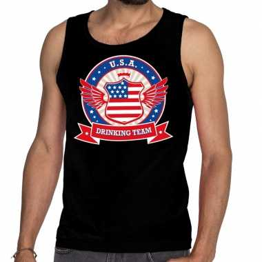 Zwart usa drinking team tanktop / mouwloos shirt heren