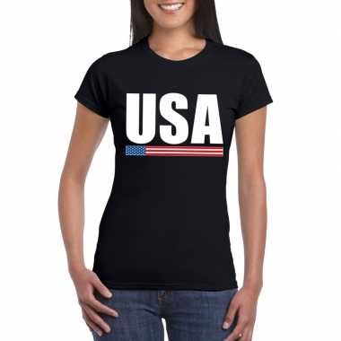 Zwart usa supporter t shirt dames