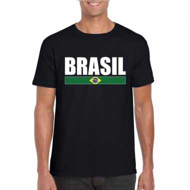 Zwart/ wit brazilie supporter t shirt heren