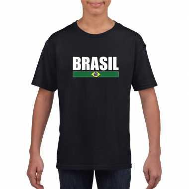 Zwart / wit brazilie supporter t shirt kinderen