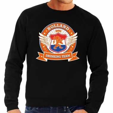 Zwarte holland drinking team sweater heren
