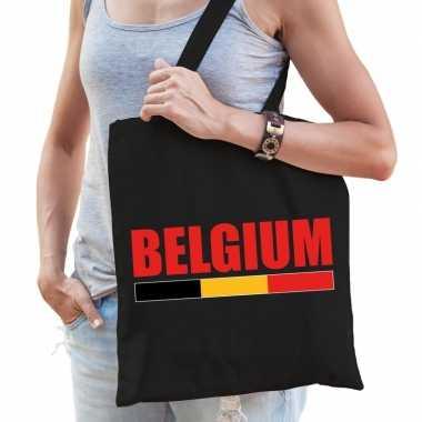 Zwarte katoenen belgie tas belgium