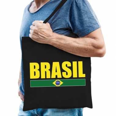 Zwarte katoenen brazilie tas brasil