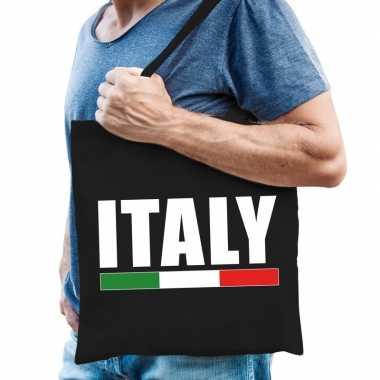 Zwarte katoenen italie tas italy