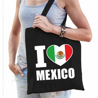 Zwarte katoenen mexio tas i love mexico