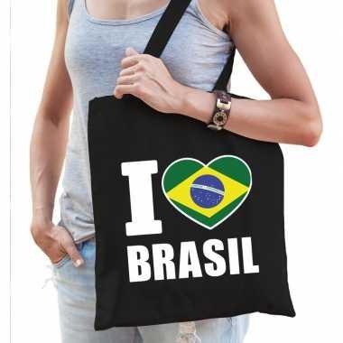 Zwarte katoenen tas i love brasil